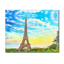 Laeacco Eiffel Tower Paris France Wall Art Modern Canvas Painting Posters and Prints Living Room Printed For Home Decor 2pic set paris city landmarks and cars modern painting hd prints on canvas wall art for living room canvas printings home decor