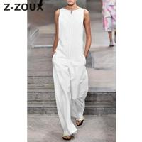 Z ZOUX Women Jumpsuit Loose Sleeveless White Long Jumpsuit Loose Leisure Rompers Womens Jumpsuit Plus Size Women Rompers Summer