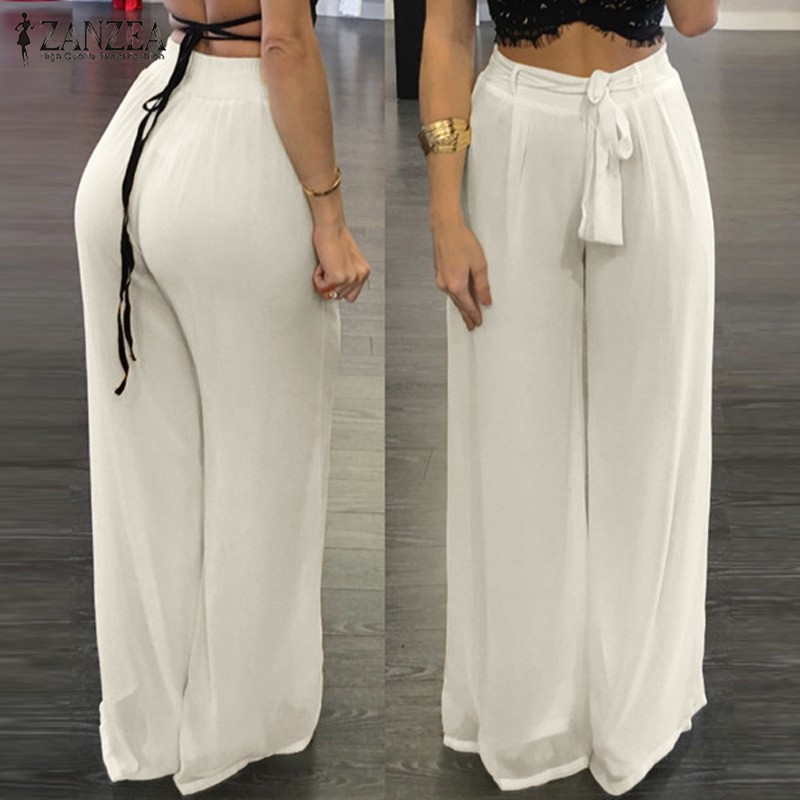 ZANZEA Women 2019 Summer Autumn Chiffon   Wide     Leg     Pants   Elegant Casual Loose Elastic High Waist Bow Solid Trousers Plus Size