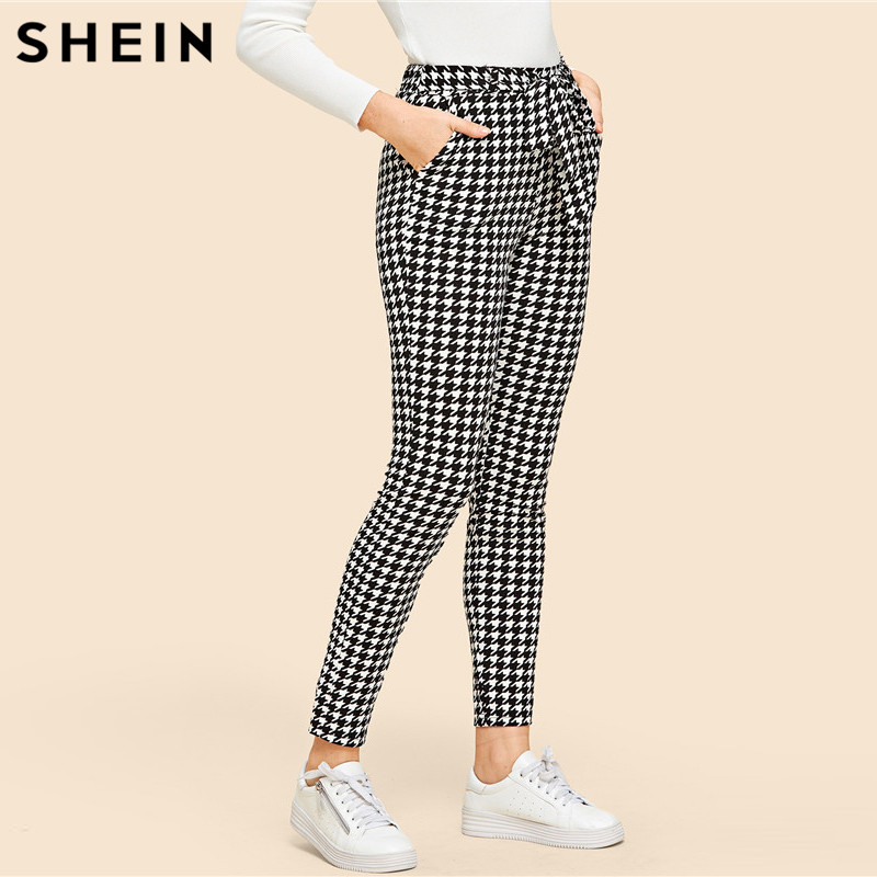 SHEIN Drawstring Waist Houndstooth Pants Mid Waist Straight Leg Pants 2019 Autumn Casual Women Trousers
