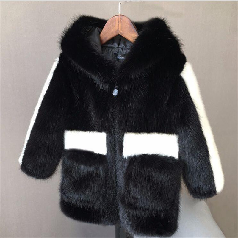 Cold Winter Boys Girls Fur Coats Parkas Faux Fur Jackets For Girls Baby Boy Thicken Warm Hooded Coat Kids Snow Wear Outerwear winter fur hooded warm jackets for girls padded coats thicken pu leather patchwork fox faux fur collar jacket outerwear w57