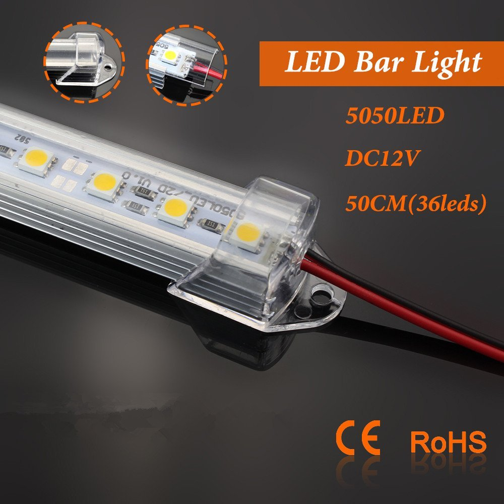 Super Bright 50pcs 5050 Led Bar Light 0.5m 36 Led 12v 24v Led Hard Strip Bar Light U Groove Warm/cold White Led Strip Light