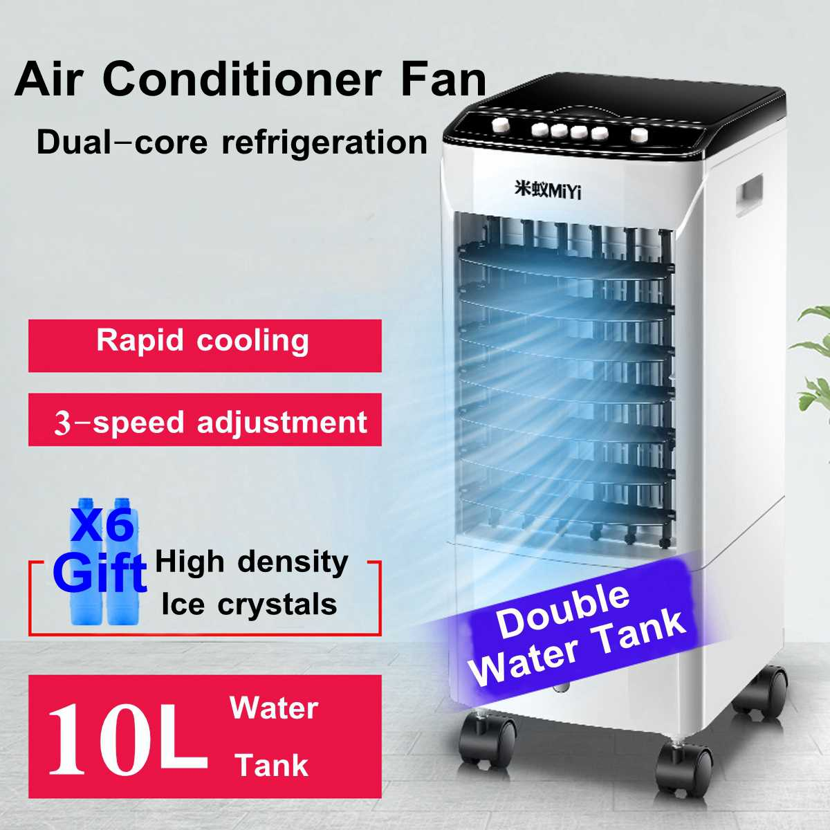 10L 40W Portable Air Conditioner Cooler Fan With Ice Crystal 220V Dual Water Tank Design Wide Angle Of Wind For Home Office