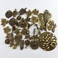 Graceangie 30 unids hojas de flores de bronce antiguo de la aleación encantos mezclados pendiente de la joyería de la vendimia collar de caída de accesorios para las mujeres