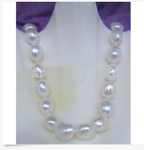 HUGE NATURAL AAA 11-13MM SOUTH SEA WHITE BAROQUE PEARL NECKLACE 925silver GOLD CLASP