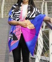 Verano estilo mujeres Niñas cuadrado grande bufanda de seda larga cebra caballo/Plumas impreso chiffon bufanda mantón cachecol feminino bufandas