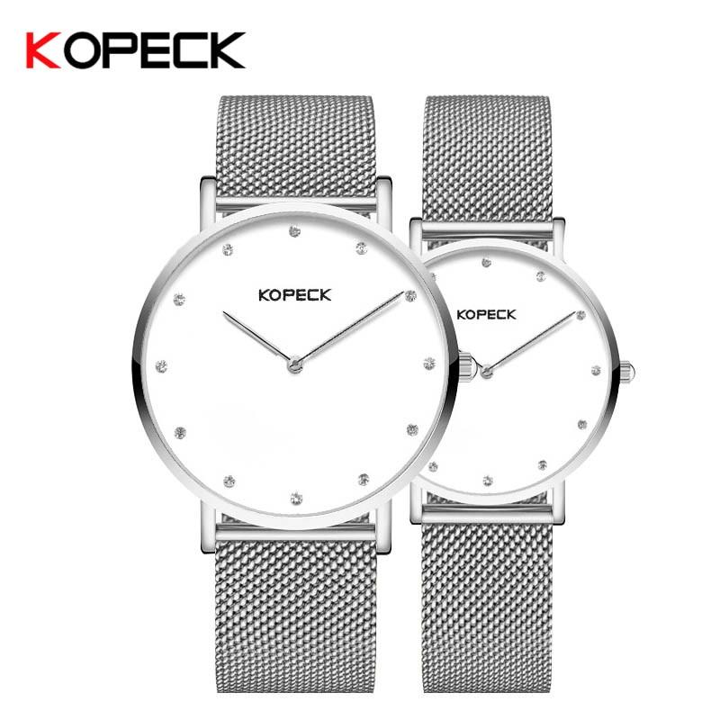 Kopeck New Classic Women Men Watches Couple Lover Wristwatch Gift Milan Mesh Strap Quartz Clock Sapphire Crystal Simple Watch