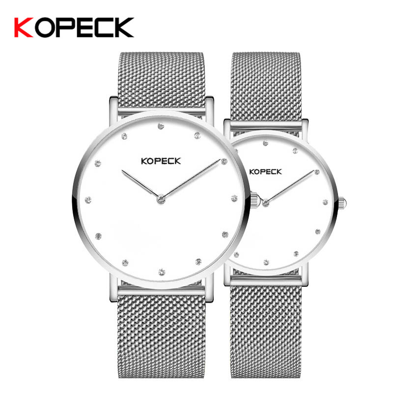 Kopeck New Classic Women Men Watches Couple Lover Wristwatch Gift Milan Mesh Strap Quartz Clock Sapphire Crystal Simple Watch