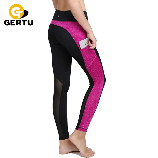 GERTU 2016 New Woman Fitness Leggings Side Pocket Slim Trouser Pants Casual Splice Mesh Elastic Sporting Leggings For Women