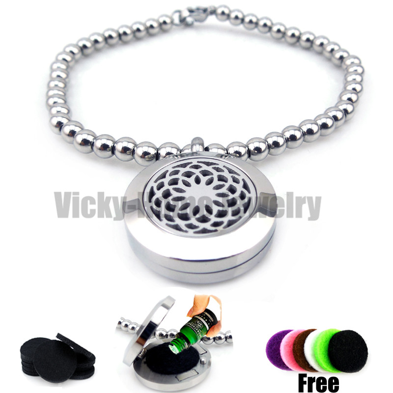 Round Silver Lotus (20mm) Bead Bracelet Aromatherapy / Essential Oils Aromatherapy Locket Stainless Steel with Felt Pads