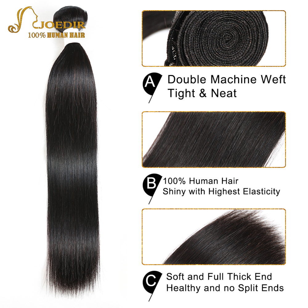 Image 4 - Joedir Hair Human Hair Weave 3 4 Bundles With Closure Brazilian Straight Weave Non Remy Hair 28 30 Inch Bundles With Closure-in 3/4 Bundles with Closure from Hair Extensions & Wigs