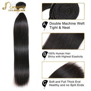 Image 4 - Joedir прямые волосы пряди с закрытием бразильские не Реми натуральные кудрявые пучки волос пряди с закрытием человеческие волосы с закрытием