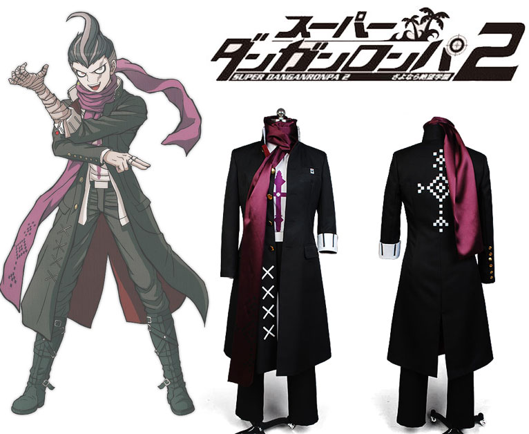 Super Danganronpa 2 Gundam Tanaka Uniform Male Coat Top Shirt Scarf Anime Halloween Game Cosplay Costumes For Men Custom Made