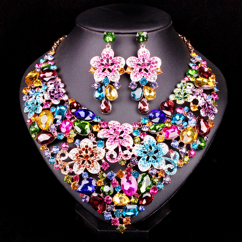 Fashion Flower Bridal Jewelry Set Statement Rhinestone Necklace Earring Set Women Party Wedding Prom Accessories Gift for women curt richter – a life in the laboratory