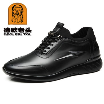 2019 Men's Cow Leather Shoes Fashion British Casual Leather Shoes Anti slip New Autumn Man Genuine Leather Shoes