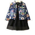 2-7 Years Spring Autumn Baby Girls Coats And Jackets Fashion Denim Floral Jeans Outwear 100%Cotton Kids Trench Coat Cardigan