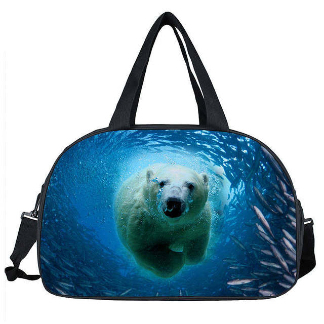 Carry On Luggage Men Travel Bags 3d Large Duffle Bag Animal Dog Tiger Bear Women Handbag