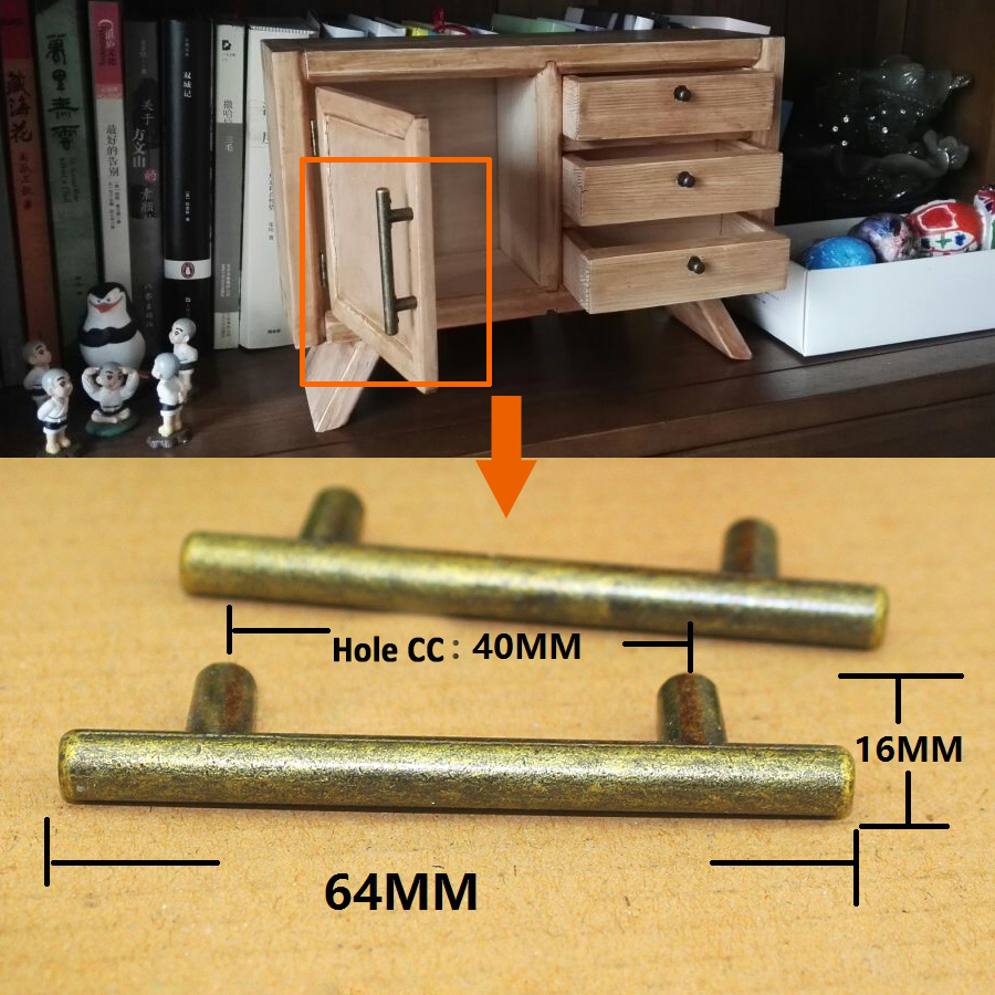 2.52 Funiture Cupboard Cabniet Drawer Handle Bronze Color Retro Drawer Small T-Shape Handle and Knobs