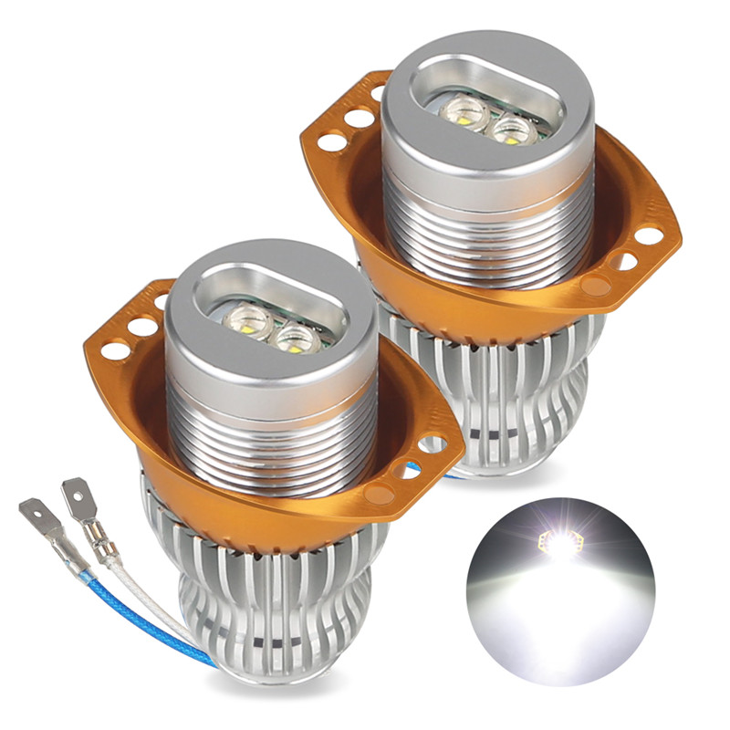 2pcs 10W LED Angel Eye Light Bulb Daytime Running Light Error Free White 6500k 12V Angel Eye Light for BMW 3 series E90 E91
