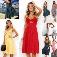 Women bow tie Strap button halter maxi linen Dresses Summer Vintage sundress Womens robe  dress