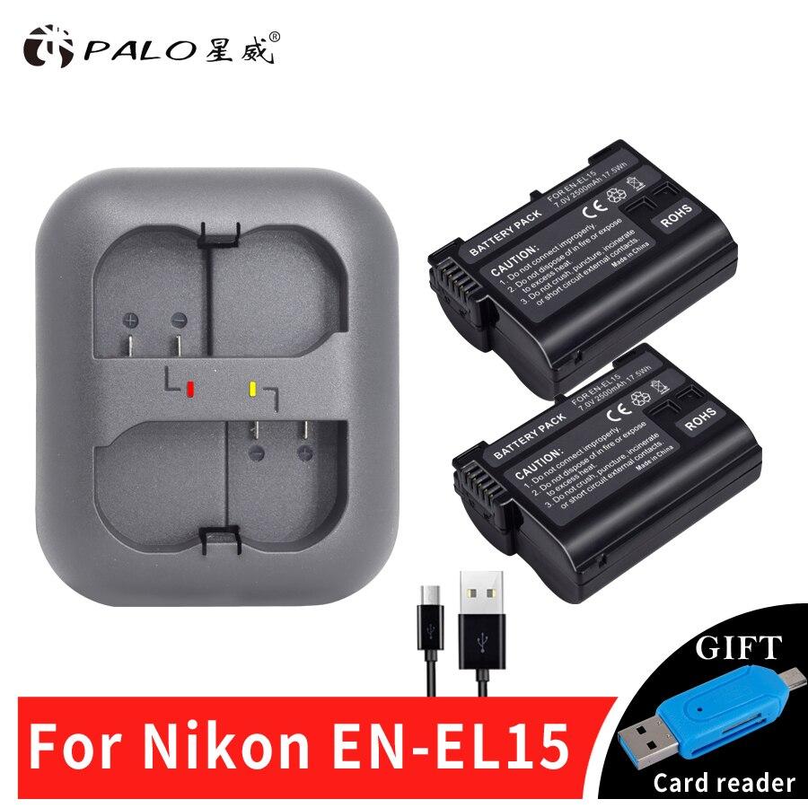 Palo 2 piezas EN-EL15 ENEL15 EN EL15 batería + LED cargador Dual USB para Nikon DSLR D600 D610 D800 D800E d810 D7000 D7100 D7200 V1