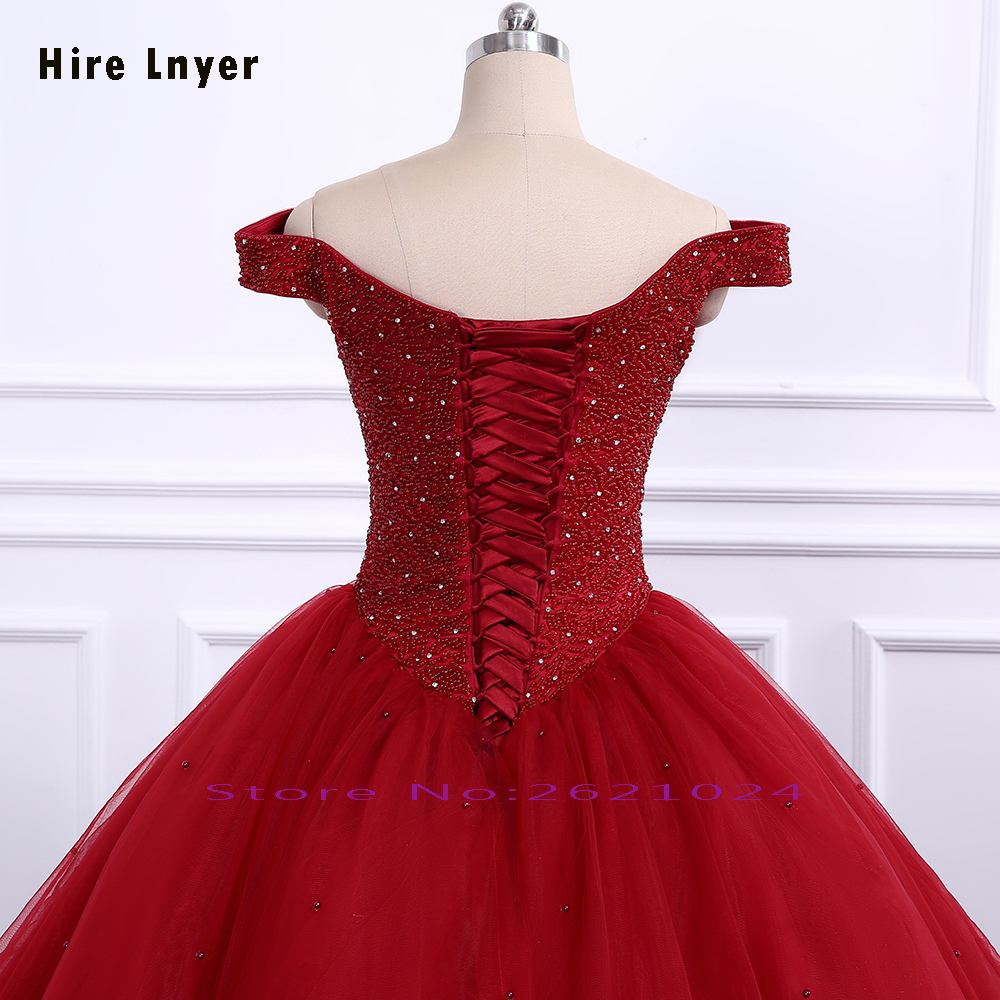 Weddings & Events Hire Lnyer Full Beading Crystal Bodice Pearls Skirt Add Coarse Tulle Inside With 6 Ring Petticoat Burgundy Quinceanera Dresses