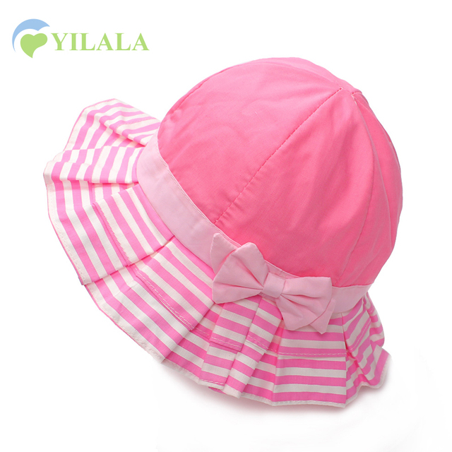 26bda9dcba363 Lovely Baby Girls Hat Newborn Baby Fisherman Cap Cotton Striped Kids Summer  Hats Cartoon Bow Baby Bucket Hats Baby Girls Cloting