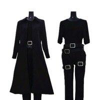 2017 Matrix Neo Cosplay Costume Black Trench Coat Full Set