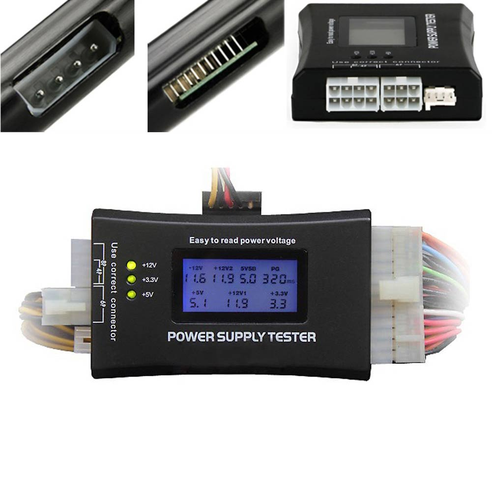 Computer PC Power Supply Tester With LCD Diaplay 20/24Pin Checker For SATA HDD ATX BTX PCI-E CDROM Floppy EM88