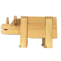 070 high quality Educational Games Toys wooden puzzle animal IQ brain teaser Kong Ming Lock /Lu Ban Lock