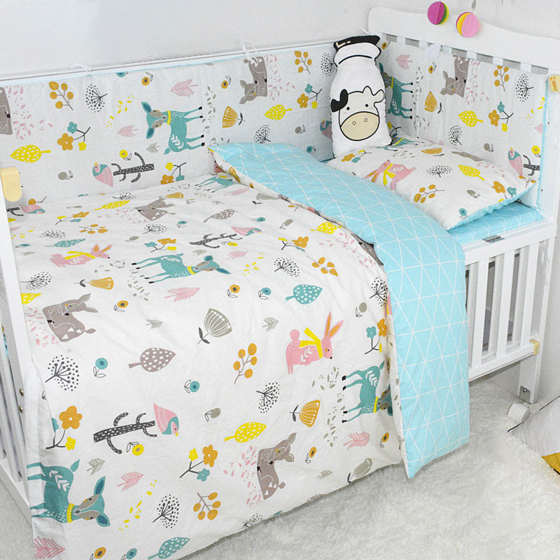 Baby Bedding Sets 3Pcs Cartoon Animal Printed 100% Cotton Infant Crib Sets Including Duvet Cover Pillowcase Flat Sheet New 2019