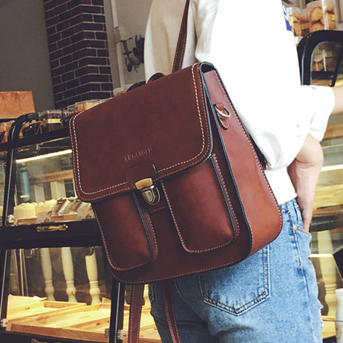 New Fashion Vintage Women Backpacks Pu Leather School Bags For Teenagers Girls Laptop Backpacks Travel