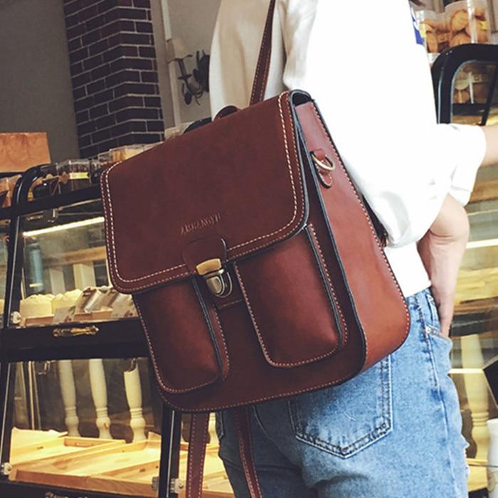 New Fashion Vintage Women Backpacks Pu Leather School Bags For Teenagers Girls Laptop Backpacks Travel Bagpack Mochila Feminina