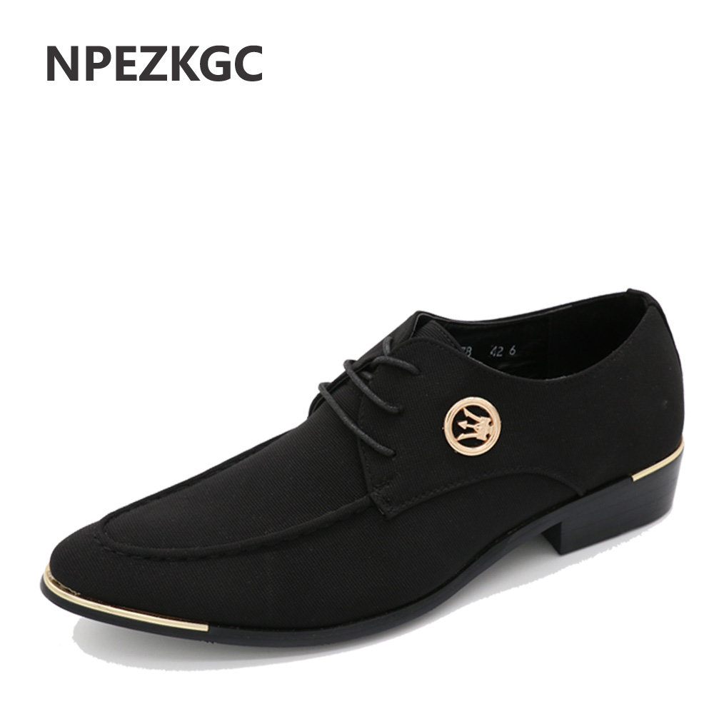 NPEZKGC New Style Cloth Oxford Shoes for Men Dress Wedding Shoes Leather Office Men Flat Shoes