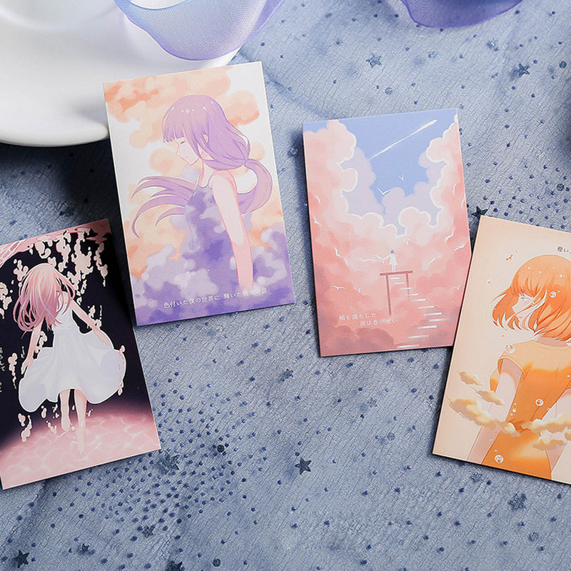 28 Sheets Set Small Card Message Card Floating Like a Dream painting Postcard Greeting Card Birthday Letter Envelope Gift Card in Cards Invitations from Home Garden