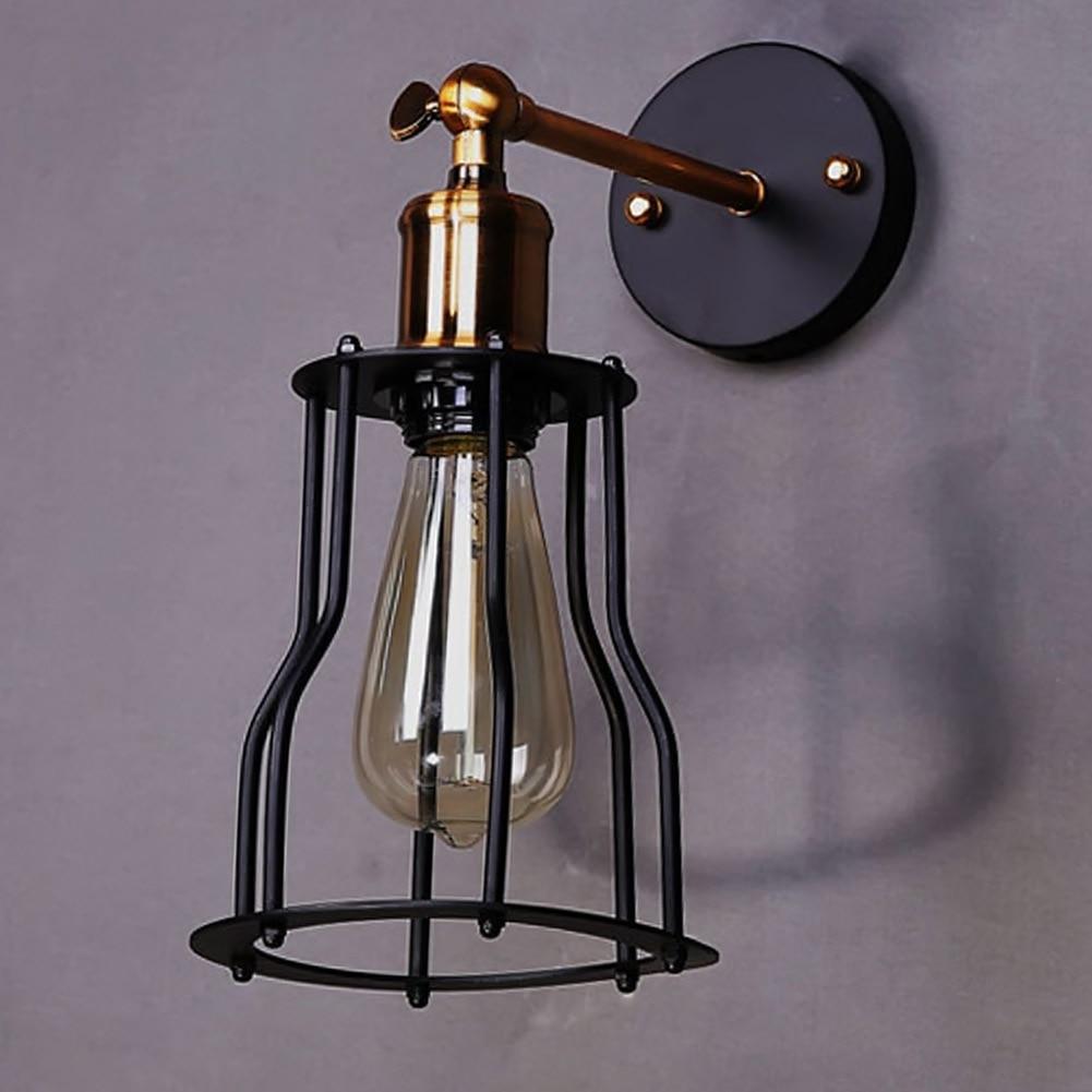 Lights & Lighting Vintage Iron Shelf Wall Lamp Sconce Residential Lighting Black Iron Corridor Balcony Light Lamp Led Indoor Wall Lamps
