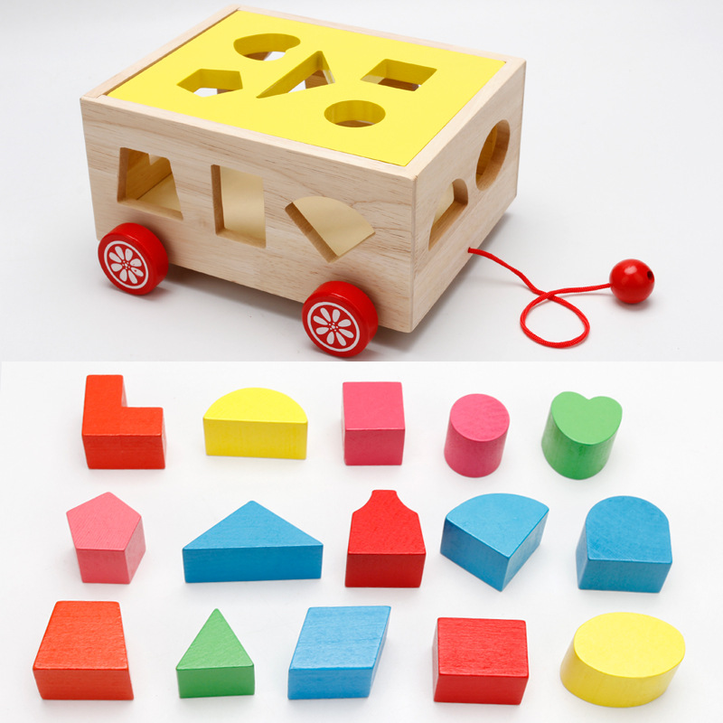 Digital Shape Intelligence Box Trailer Early Learn Cube Game/ Baby Block Match Learning Educational Wood Toy 15 Holes Geometry