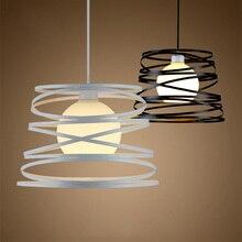 Modern black/white Iron cage Led Pendant Light Bedroom Living room Hanging lamps E27 Holder Led Pendant Light for Home Lighting
