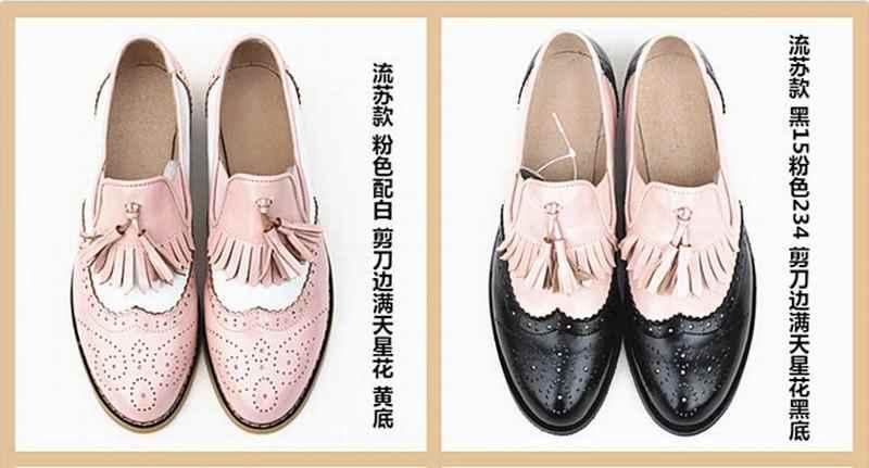 Big Size 34-44 Slip-on Oxfords Schoenen voor Vrouwen Lederen Vintage Casual Brogues Kwasten Loafers Fringe Flats Schoenen Vrouw