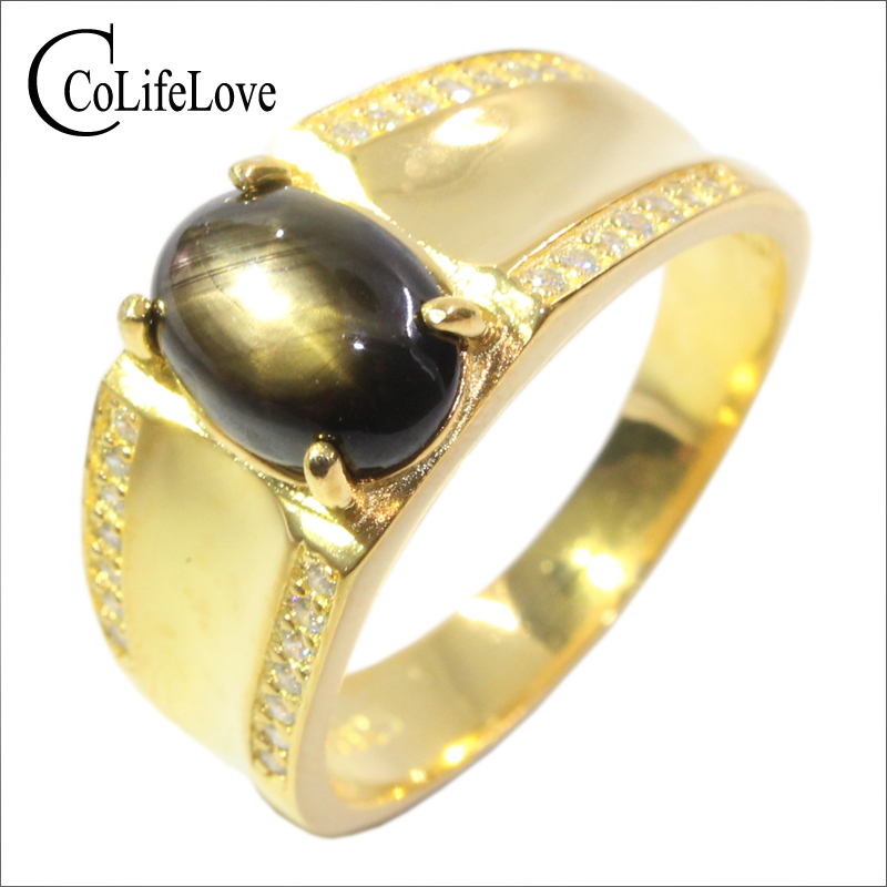 Vintage MAN Ring 925 silver ring 7 9mm natural Star Light Sapphire ring king s ring