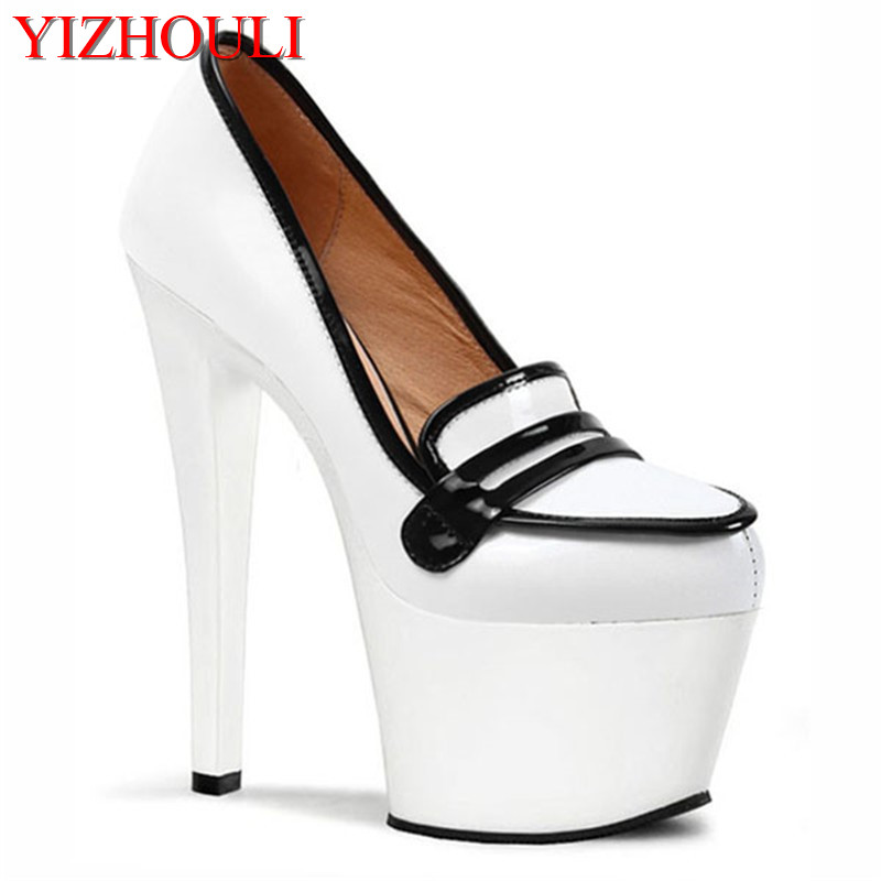 17cm nightclub princess sexy ultra high heels appeal shoes drag temptation The bottom of the black paint catwalk shoes sexy supermodels catwalk shoes super high heels shoes 20 cm cos props nightclub paris fashion boots