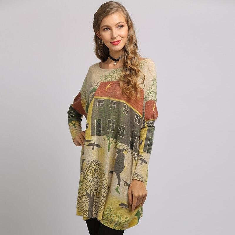 Свитер с рукавом «летучая мышь» XIKOI, большой повседневный длинный женский свитер с принтом города, женские свитера, пуловеры, одежда 2020, Нови...