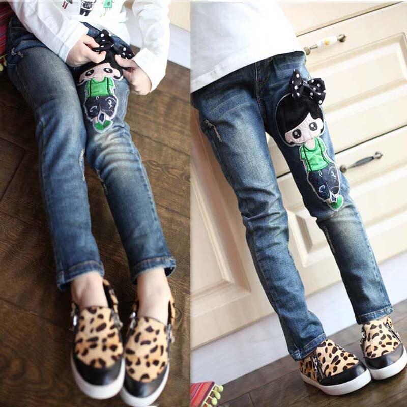 d90ae4b3e Crianças meninas jeans stretch calças 2018 outono cintura elástica calças  justas crianças leggings inverno padrão dos desenhos animados roupas casuais