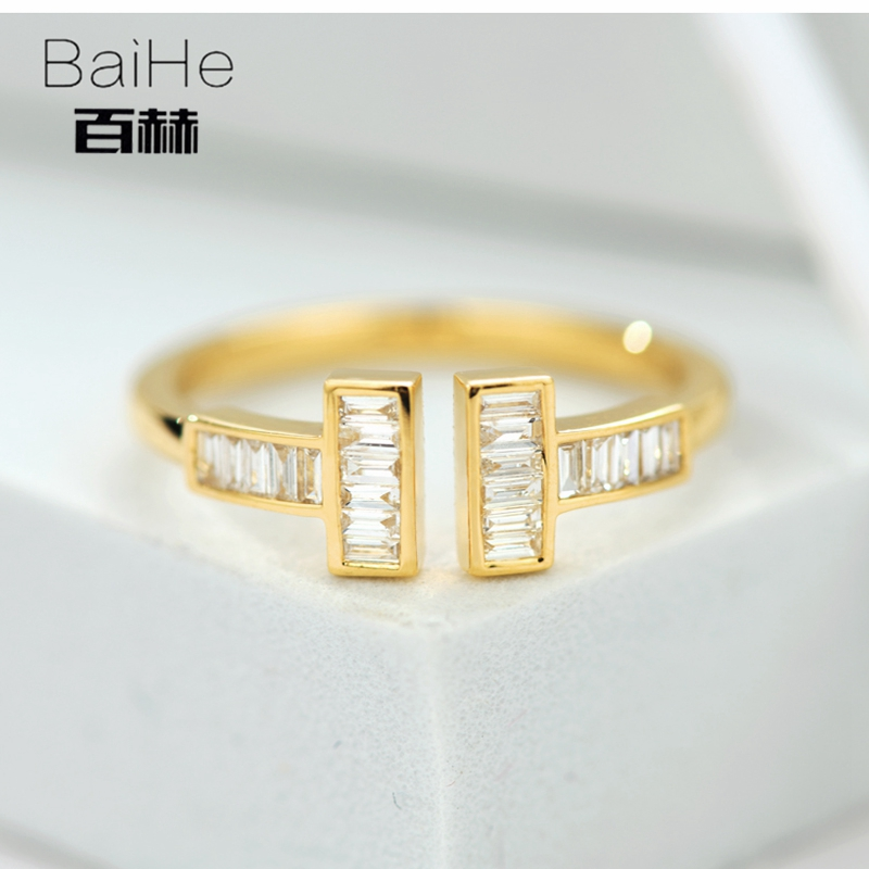 BAIHE Solid 14K Yellow Gold 0.25CT Certified H/SI 100% Genuine Natural Diamonds Engagement Women Classic Fine Jewelry gift Ring цена