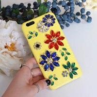 Moda Bling Kryształ Diament Luksusowe Prawdziwej Skóry Pokrywa Coque dla iPhone 6 Przypadku 6 s 7 Plus Przypadku Telefonu Rhinestone kwiat