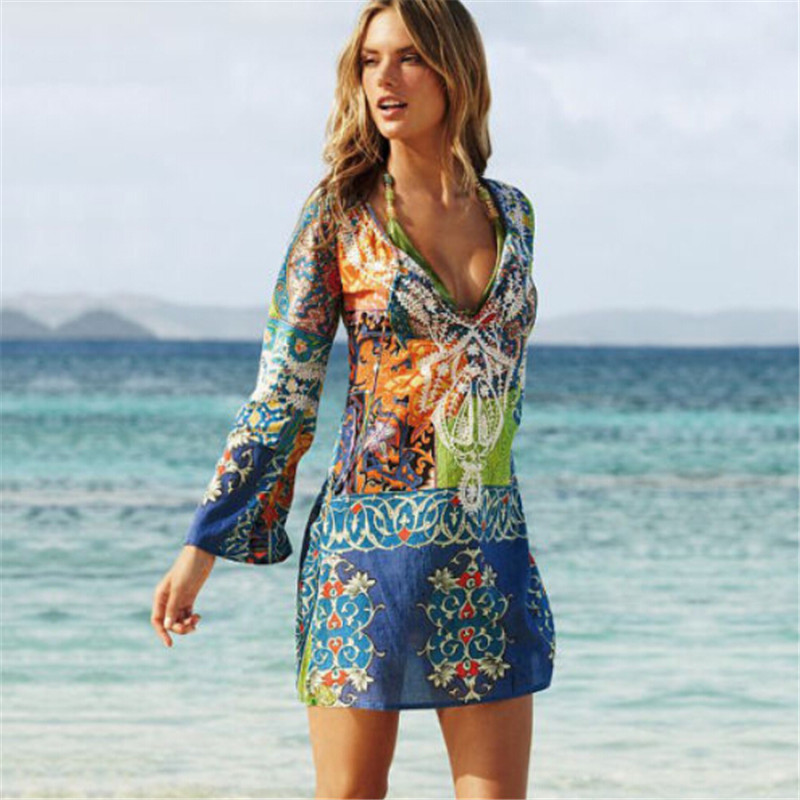 2017 Summer Brazilian Style Cover Up Women Sexy Swimsuit Cover Ups Long Sleeve Bikini Cover-up Printing Beachwear Robe Vestidos
