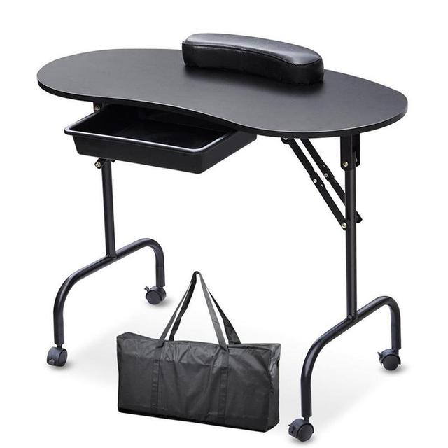 Portable Manicure Nail Table With Bag Station Desk Spa Beauty Salon Equipment Black White Foldable