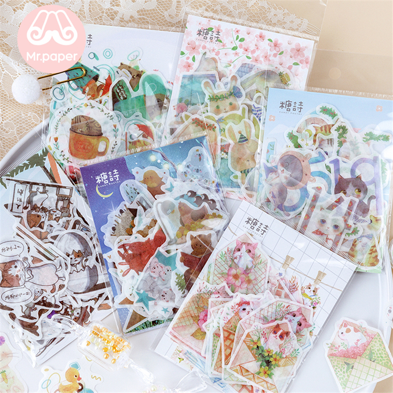Mr.paper 40Pcs/bag 6 Designs Kawaii Summer Forest Kitty Rabbit Deco Stickers Diary Scrapbooking Bullet Journal Deco Stickers