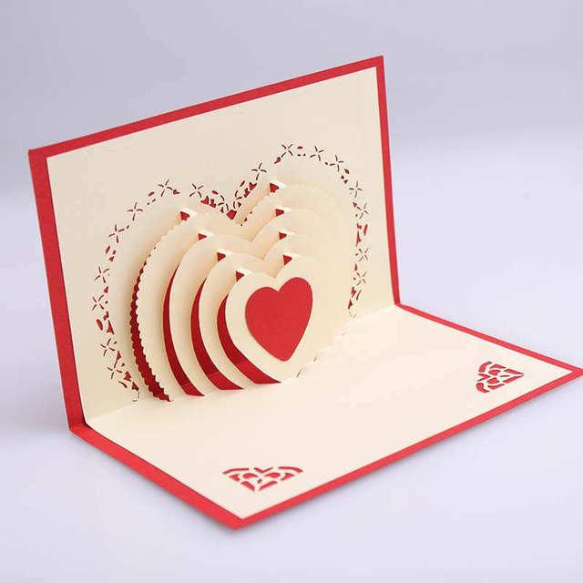 Doreenbeads 3d Karte Herz Design Handgemachte Valentinstag Hochzeit