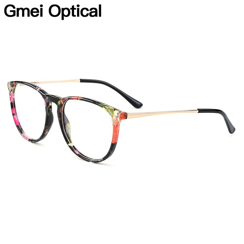 Gmei Optical Fashion Floral Round Women Glasses Frames Brand Designer Prescription Eyeglasses Optical Frame Eyewear H8039